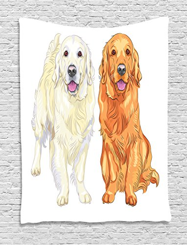 (Ambesonne Golden Retriever Tapestry, Smiling Pale and Red Dog Pure Breed Sitting Staying Thoroughbred, Wall Hanging for Bedroom Living Room Dorm, 60