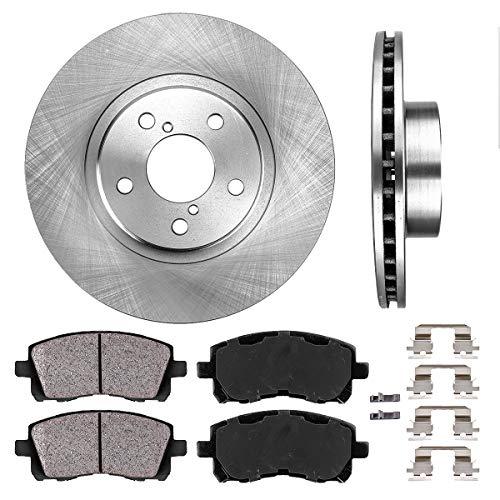 FRONT 277 mm Premium OE 5 Lug [2] Brake Disc Rotors + [4] Ceramic Brake Pads + Clips