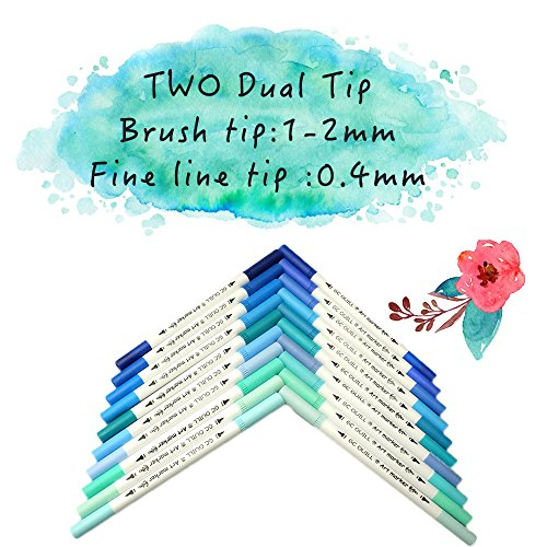GC 100 Dual Tip Brush Pen Marker Set Flexible Brush & Fineliner Tips - Watercolor Effects - Markers Perfect for Adult Coloring Books, Manga, Calligraphy, Hand Lettering, Bullet Journal Pens by GC Writing Quill (Image #3)