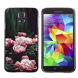 rígido protector delgado Shell Prima Delgada Casa Carcasa Funda Case Bandera Cover Armor para Samsung Galaxy S5 SM-G900 /Pink Flowers Garden Blossoming/ STRONG