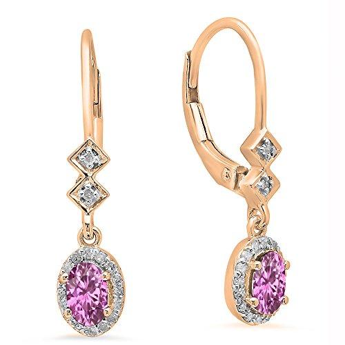 (10K Rose Gold 5X3 MM Each Oval Pink Sapphire & Round Diamond Ladies Dangling Drop Earrings)