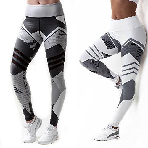 CROSS1946 Sexy Women's Striped Geometry Yoga Pants Power Flex Mesh Leggings Workout Trousers S (Pant Workout Striped)