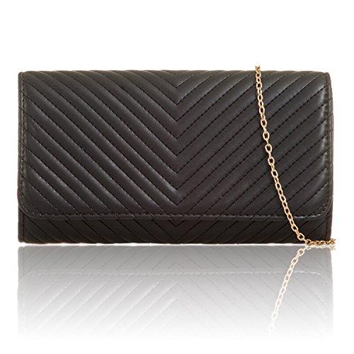 Quilted Evening Women Vintage Xardi Bags Black Monogramme Leatherette Chevron Clutch London Ladies qwpxStTz