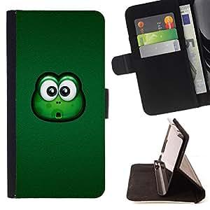 BullDog Case - FOR/Sony Xperia Z1 Compact D5503 / - / frog big eyes green animal cartoon friendly /- Monedero de cuero de la PU Llevar cubierta de la caja con el ID Credit Card Slots Flip funda de cuer