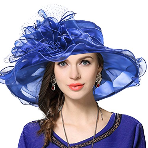 JESSE · RENA Women's Church Derby Dress Fascinator Bridal Cap British Tea Party Wedding Hat (Royal Blue) -