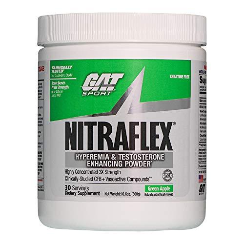 GAT Clinically Tested Nitraflex, Testosterone Enhancing Pre Workout, Green Apple,300 Gram