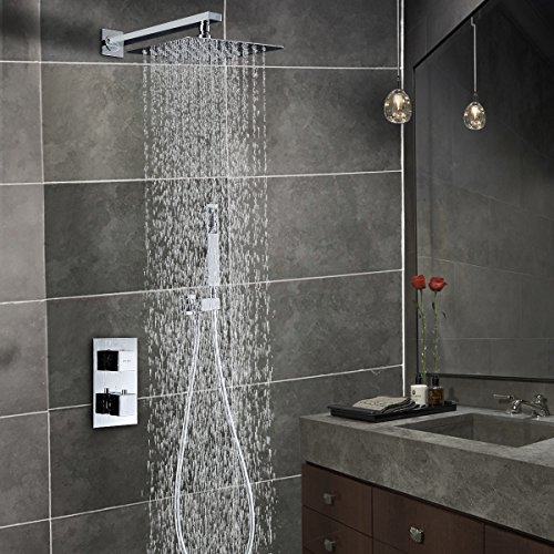 """Esnbia Thermostatic Shower Systems Wall Mounted Shower System with 10"""" Rain Shower Head Polish Chrome Square Style"""