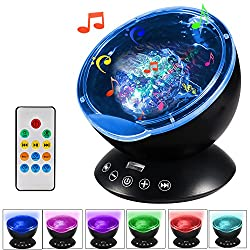 totobay [Newest Generation] Remote Control Ocean Wave Projector 12 LEDs & 7 Color Changing Modes Night Light and Built-in Mini Music Player for Living Room and Bedroom