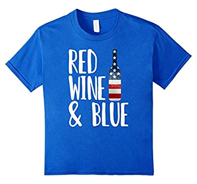 Red Wine & Blue - Bottle USA Flag Funny 4th Of July T-Shirt