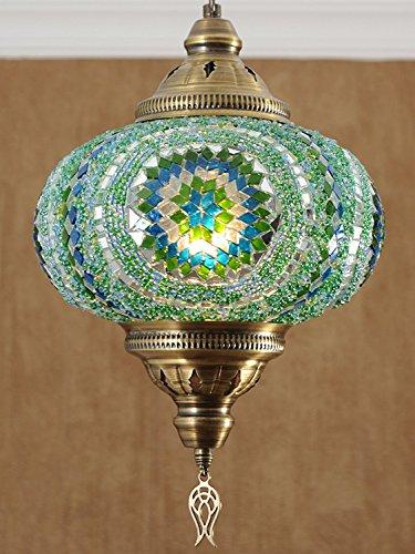 Handmade, Authentic, Mosaic Chandelier, Tiffany Style Glass, Moroccan/Ottoman Style Night Lights (Green, Single ()