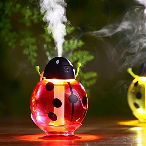 FollowFar Air Humidifier Cool Mist Humidifier Beetle Cartoon Shape 360 Degree Rotating Mini USB Humidifier for Car Office Home Desktop Water Supply Atomizer LED Light |(Red)