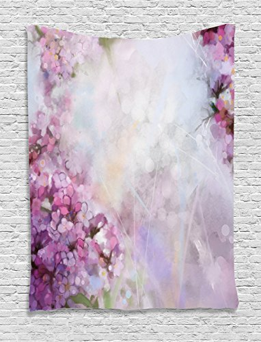 Watercolor Flower Home Decor Tapestry by Ambesonne