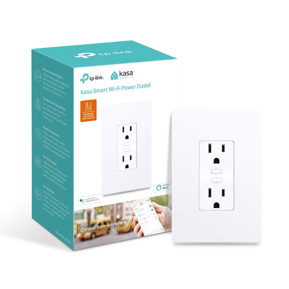 Kasa Smart WiFi Power Outlet, 2-Sockets by TP-Link – Smart Outlet, Compatible with Alexa and Google (KP200)