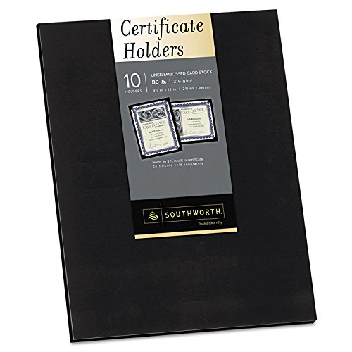 (Southworth PF18 Certificate Holder, Black, 105lb Linen Stock, 12 x 9 1/2, 10/Pack)