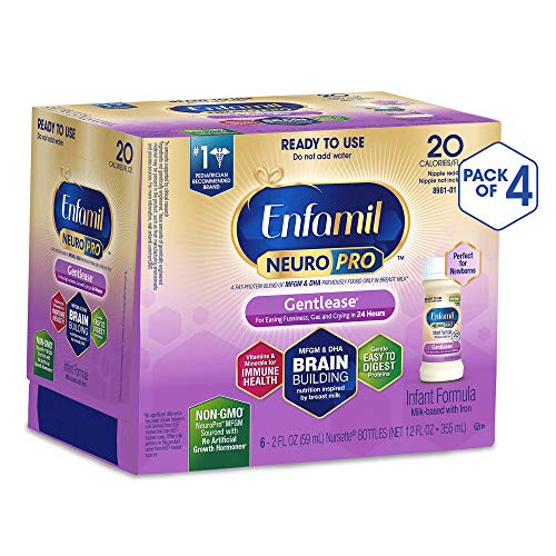Enfamil NeuroPro Gentlease Ready to Feed Baby Formula Gentle Milk, 2 fluid ounce Nursette (24 count) - MFGM, Omega 3 DHA, Probiotics, Iron & Immune Support (Best Formula To Use For Newborns)