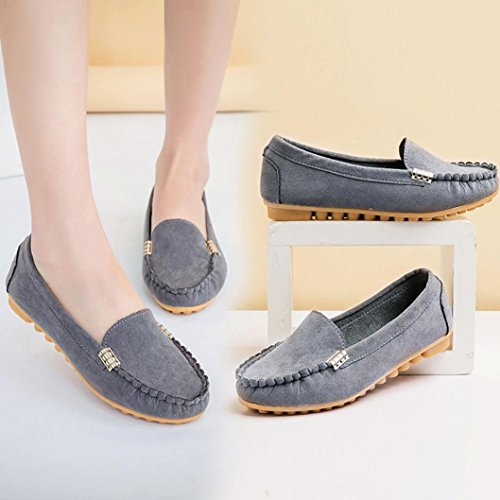 Transer Ladies Leisure Flats Shoes, Women Slip On Comfy Casual Work Loafers Lazy Shoes Grey