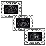 Design Works Chalkboard Counted Cross Stitch Kits Bundle - 3 Items: Share Joy, Grow Love, Plant Hope, 4 by 6 Inches Each