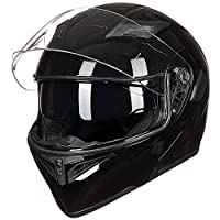ILM Motorcycle Dual Visor Flip up Modular Full Face Helmet DOT with 6 Colors (L, GLOSS BLACK) by ILM