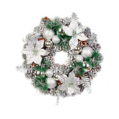 - 2018!!Leaf Fall Door Wall Home Ornament,Christmas Artificial Pine Cone Wreath (Silver)