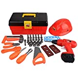 Tool Toy Set Pretend Play 40+ Pieces with Electronic Drill, Construction Kit Accessories, Tools Box, Hard Hat and Hammer Wrench for Boys Age 3,4,5,6