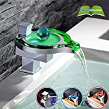 Basin Taps LED Colors Change Waterfall Basin Faucet Bathroom Brass Chromed Round Waterfall Basin Faucets Mixer Tap Cold and Hot