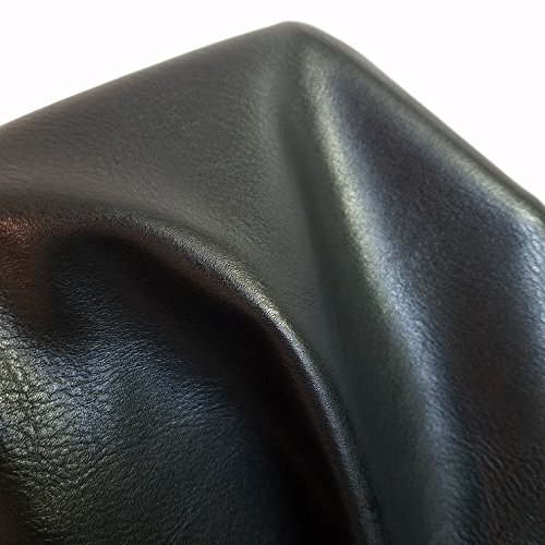 Black Faux Leather Synthetic Pleather 0.8 mm Madison 1 Yard 54 inch Wide x 36 inch Long Soft Smooth Vinyl Upholstery (Black Madison)