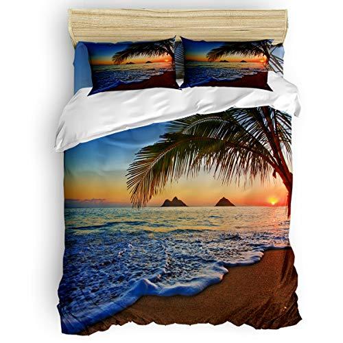 Gogobebe Bedding Duvet Cover Set 4 Piece Suits Full Size Sunrise Ocean Beach Tropical Island Soft Lightweight Duvet Cover, Pillow Covers, for Childrens/Kids/Teens/Adults