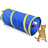 Pecute Tunnel Cat Dog Play Tunnel with Ring Bell Exercise Collapsible Toy, Blue