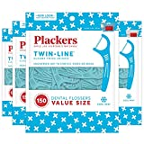 Plackers Twin-line Dental Floss Picks, 150 Count (Pack of 4)