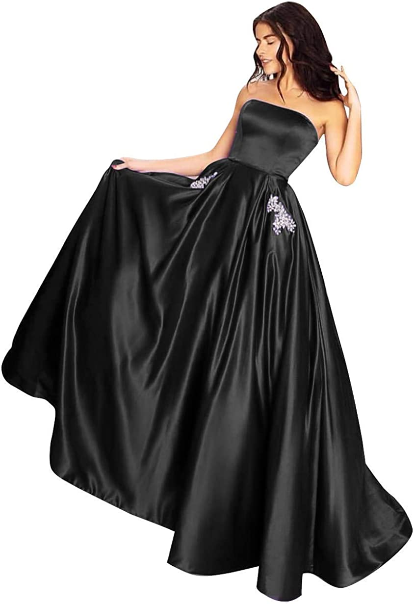 Yangprom Satin Strapless Gowns With Pockets Lace Up Back Prom Dresses Long