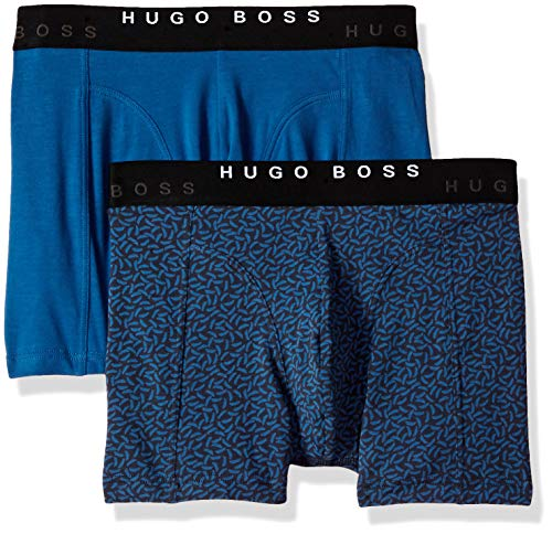 Hugo Boss BOSS Men's Boxer Brief 2p Print, Bright Blue/Navy, S