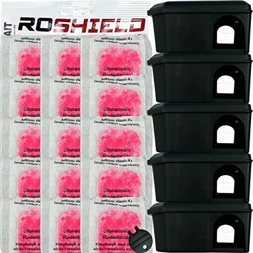 Roshield Mouse Control Black Bait Box Kit Includes Pasta Poison Sachets -...