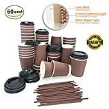 Best Quality Disposable Coffee Cups with Lids and Stirrers 12 Oz | Set of 60 | Ideal for To Go Office Home Travel Party | No Sleeve Required No Leakage| Tripple Wall Strongest Cups