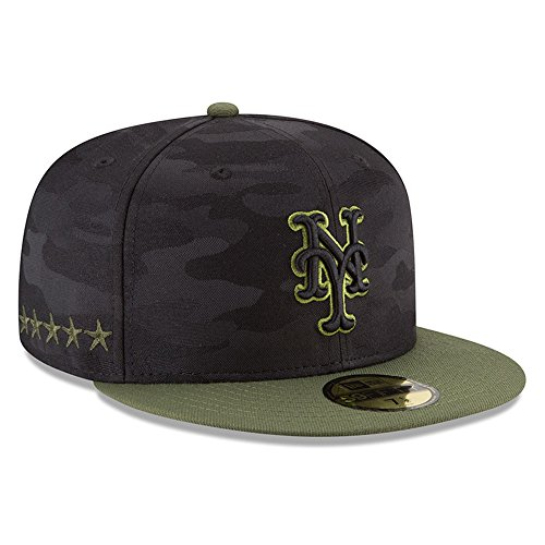 New York Mets Camo - New Era New York Mets 2018 Memorial Day On-Field 59FIFTY Fitted Hat – Black/Olive (7 3/8)
