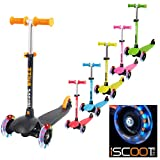 iScoot Whizz Light Weight 3 Wheel Tilt and Turn Kick Scooter with LED Light Up Wheels T-Bar Bobbi Board for Boys / Girls / Children / Kids - Ages 3-5 - Black
