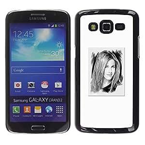 For Samsung Galaxy Grand 2 II / SM-G7102 / SM-G7105 Case , White Portrait Hollywood Tv - Diseño Patrón Teléfono Caso Cubierta Case Bumper Duro Protección Case Cover Funda