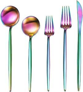 Rainbow Silverware Set, 20-Piece Stainless Steel Flatware Set Service for 4, Satin Finished Flatware Cutlery Set, Dishwasher Safe