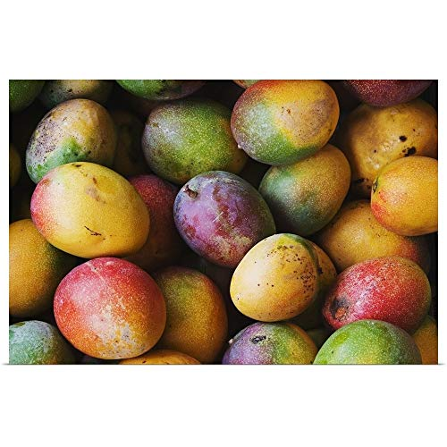 GREATBIGCANVAS Poster Print Entitled Hawaii, Oahu, Honolulu, Fresh, Ripe Mangoes for Sale at Chinatown Market Stall by Greg Vaughn 18