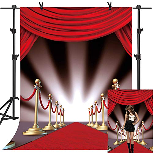 MME 5x7Ft Red Carpet Curtain Backdrop Youtube Background Photo Video Studio Photography ME075 (Hollywood Fashion Carpet Red)