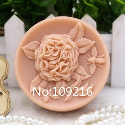 Creativemoldstore 1pcs Hydrangea with Honeybee (zx142) Silicone Handmade Soap Mold Crafts DIY Mould