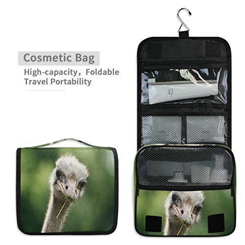 Ostrich Deluxe (Toiletry Organizer Wash Bag,Ostrich Pictures Portable travel bathroom shower bags Deluxe Large Capacity Waterproof Pouch Kit with Hook for Men and Woman)