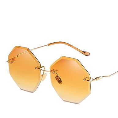 f0becb6446d HOBULL Sunglasses for Women Polygonal Rimless Frame Sunglasses UV400  Protection