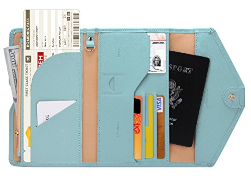 (Zoppen Multi-purpose Rfid Blocking Travel Passport Wallet (Ver.4) Tri-fold Document Organizer Holder, 23 Paradise Blue)
