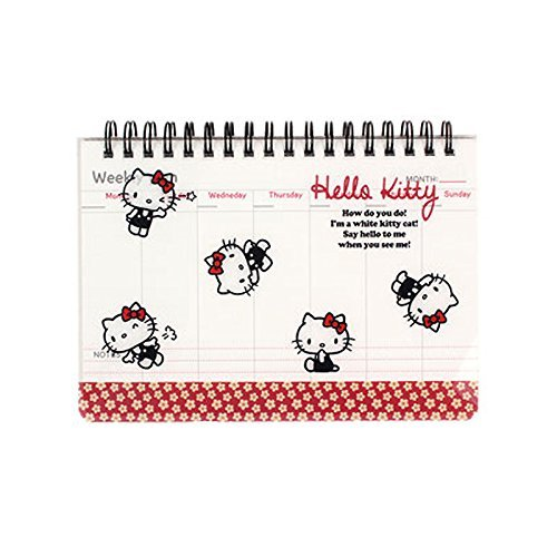 Sanrio Hello Kitty PP Cover Weekly Scheduler / Memo Pad / Planner 1pc (Floral Red)