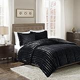 Super King Size Comforter Sets Madison Park Duke King/Cal King Size Bed Comforter Set - Black, Solid – 3 Pieces Bedding Sets – Faux Fur Plush Bedroom Comforters