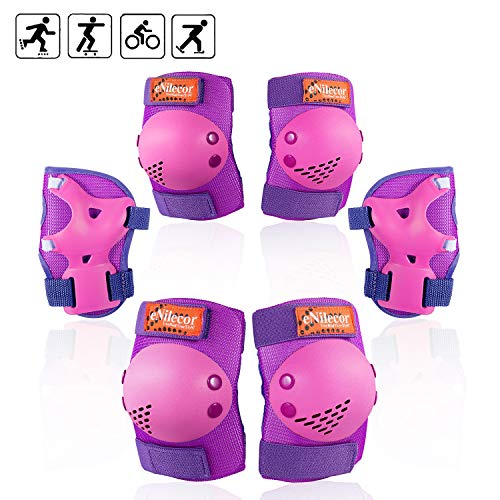 eNilecor Kids/Youth Rollerblade Roller Skates Cycling Knee Pads Elbow Pads Wrist Guards Protective Gear Set for BMX Bike Skateboard Inline Skatings Scooter Riding Sports (Purple/Pink, - Skates Roller Kids Gear