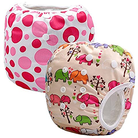 Storeofbaby 2pcs Reusable Baby Swim Diapers Pants Leakproof Adjustable Infant Toddler
