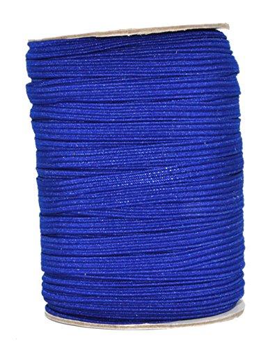 Mandala Crafts Flat Elastic Band, Braided Stretch Strap Cord Roll for Sewing and Crafting (1/4 inch 6mm 50 Yards, Royal - Elastics Royal Flats