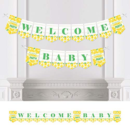 Big Dot of Happiness So Fresh - Lemon - Citrus Lemonade Baby Shower Bunting Banner - Party Decorations - Welcome Baby