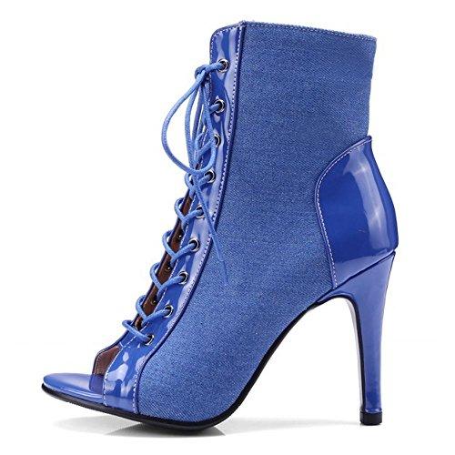 Femmes TAOFFEN Bottines à Blue Talon d'Été Haut dqA1Wq